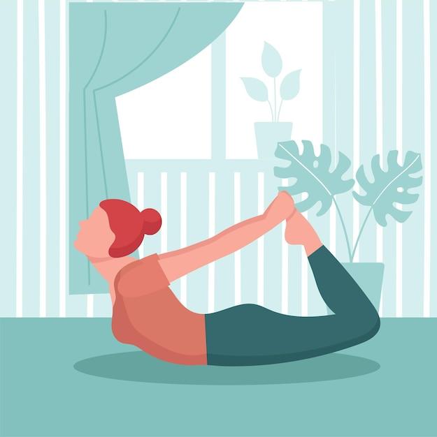 여자는 집에서 요가 관행. 홈 스포츠 개념, 실내 온라인 요가 운동. 프리미엄 벡터