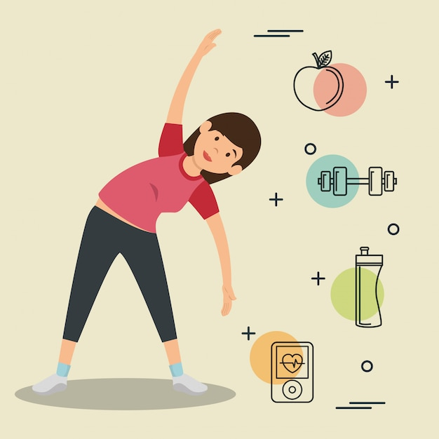 Woman practicing exercice with sports icons Free Vector
