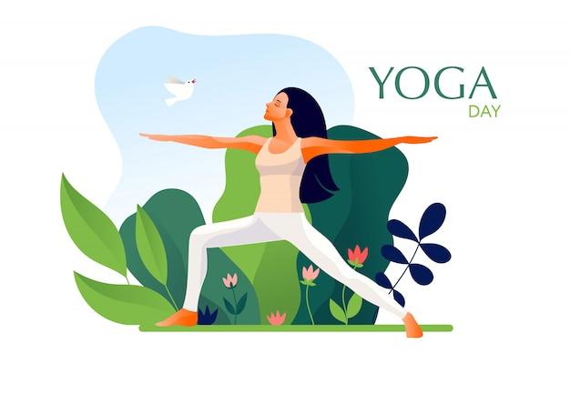 Woman practicing yoga exercise, yoga pose. international yoga day. Premium Vector