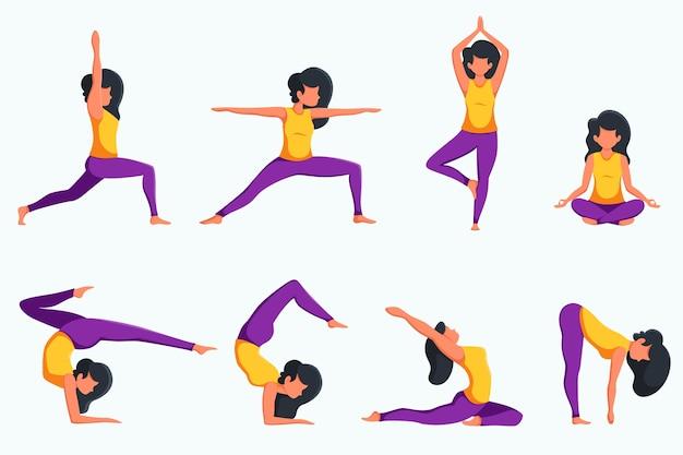 요가 연습하는 여자, 다른 포즈의 설정. 건강한 생활. 플랫 스타일로 프리미엄 벡터