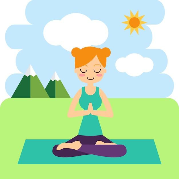 Woman practicing yoga in the tree pose. in asana vrikshasana. Free Vector