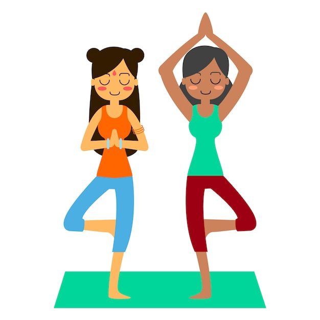 Free Vector Woman Practicing Yoga In The Tree Pose In Asana Vrikshasana Find illustrations of yoga poses. woman practicing yoga in the tree pose