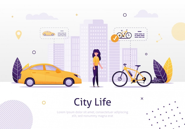 Woman prefering driving bicycle to car banner. Premium Vector