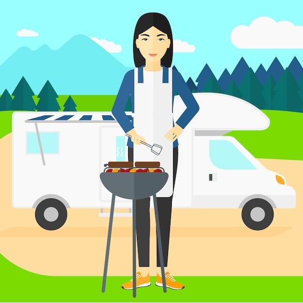 Woman preparing barbecue. Premium Vector