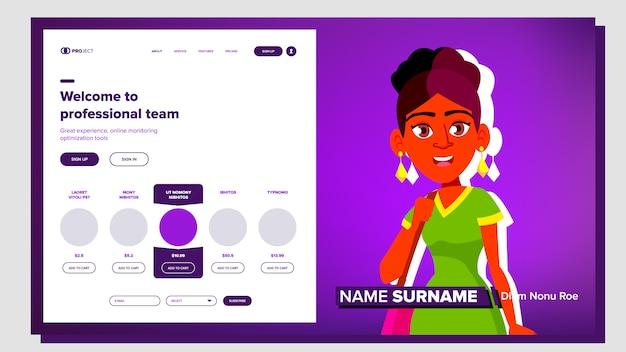 Woman presentation in the company Premium Vector