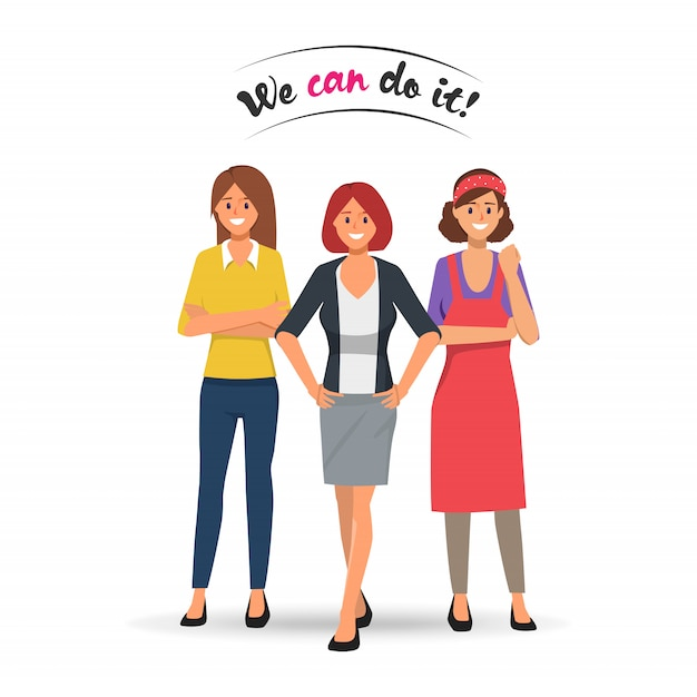 Woman professional team stronger concept. Premium Vector