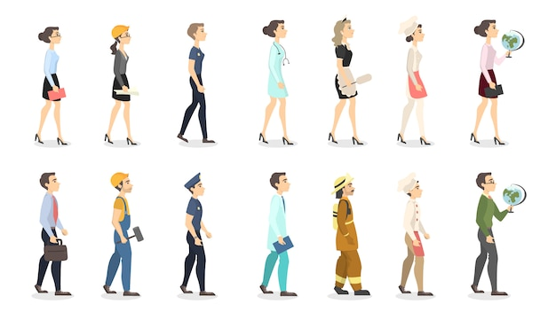 Woman professions set. teacher and police officer, businesswoman and scientist. Premium Vector
