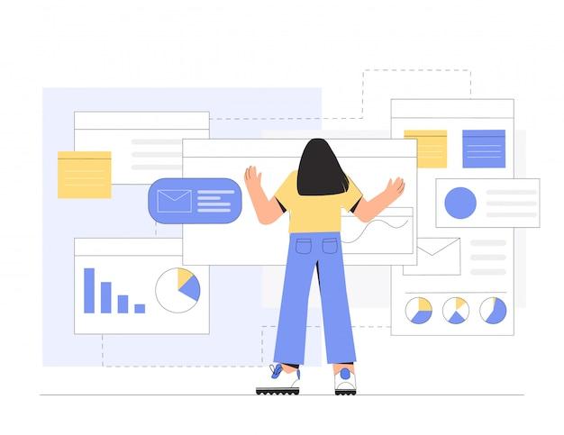 会社のオフィスのプログラムで働く女性のプログラマーまたはデザイナー。 Premiumベクター