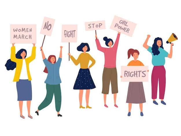 Протест женщины. толпа женщин с плакатами политики, говорящими многорасовыми феминистскими персонажами молодых девушек. Premium векторы