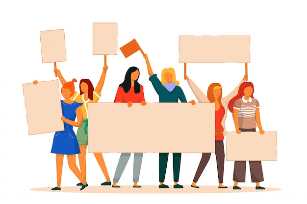 Woman protester. vector activist feminist struggle for freedom, independence, equality. girl protester with empty placard stand isolated. international woman day illustration Premium Vector