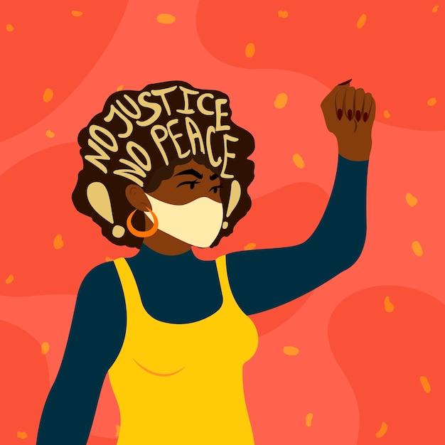 人種差別に抗議する女性。正義のない平和のスローガンレタリング。人種差別の概念と戦う。白の覇権の終わり。 Premiumベクター