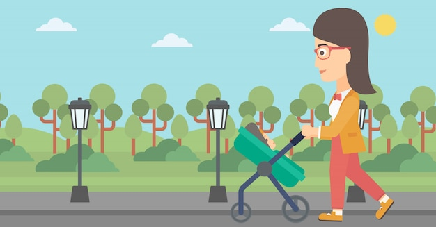 Woman pushing pram. Premium Vector