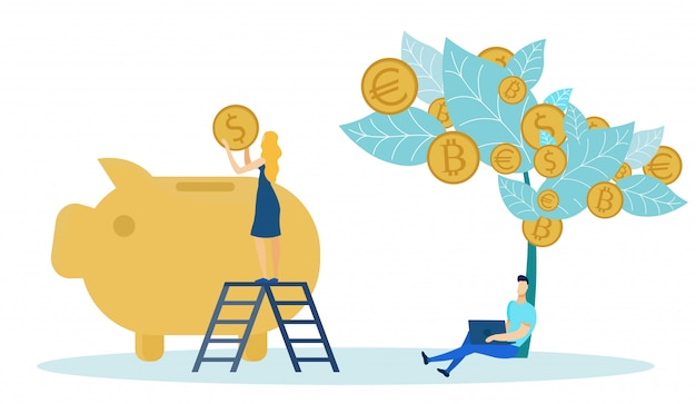 Woman putting coins from money tree into bank. Premium Vector