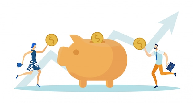 Woman and putting dollar coins into piggy bank. Premium Vector