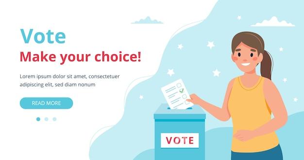 Woman putting vote into the ballot box Premium Vector