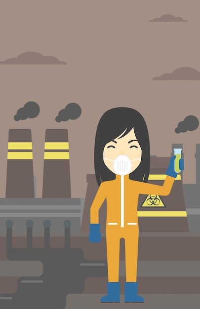 Woman in radiation protective suit with test tube. Premium Vector