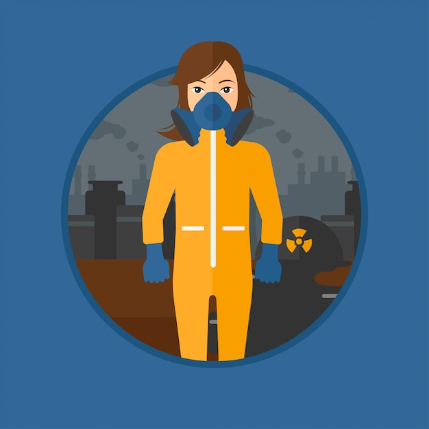Woman in radiation protective suit. Premium Vector