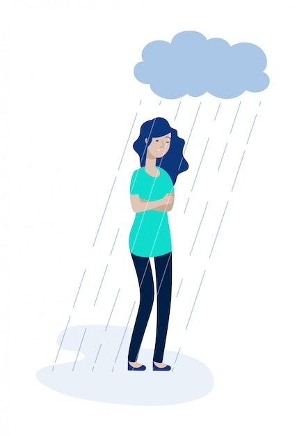 Woman Rain Cloud Depressed Girl Feeling Lonely Depression Unhappy Teen Solitude Sadness Grief Stress Apathy Concept Premium Vector