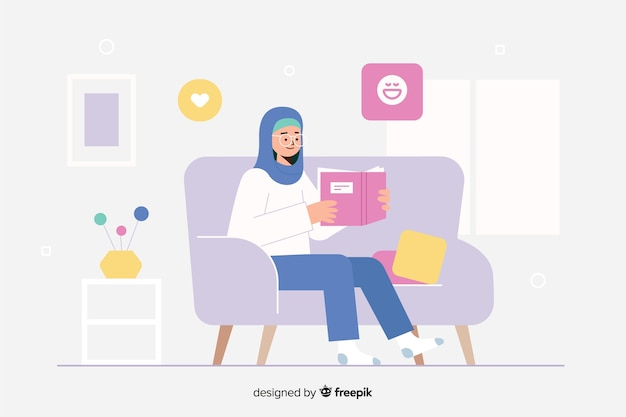 Woman reading a book in her house landing page Free Vector