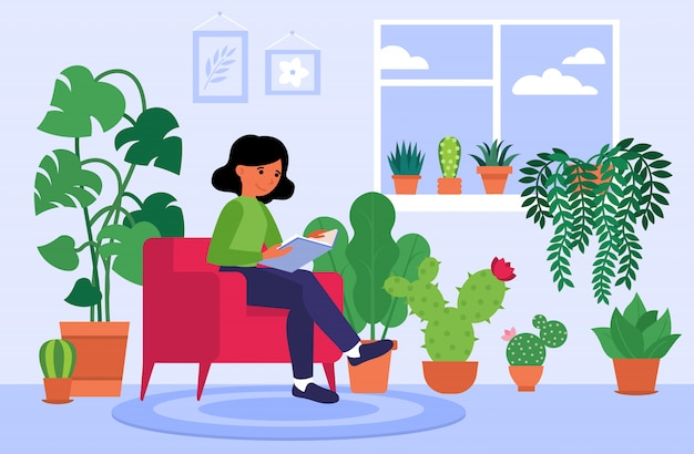Woman reading book at home among houseplants Free Vector