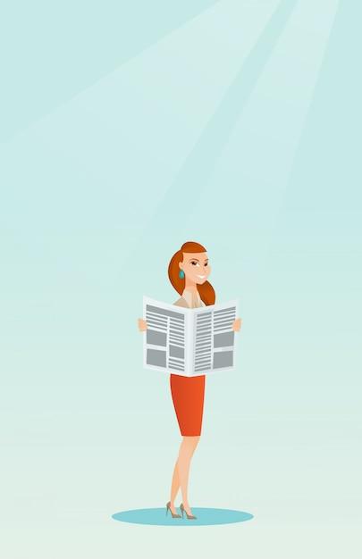 Woman reading a newspaper Premium Vector
