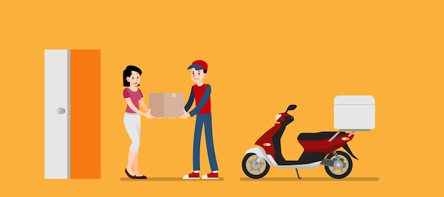 Woman receive a  goods delivery service from sender. Premium Vector