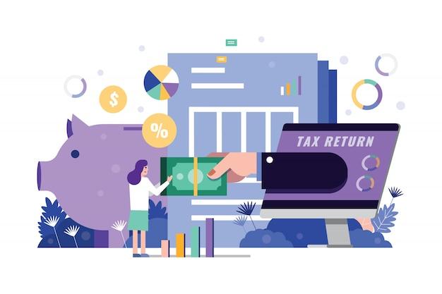 Woman receive tax return form hand on computer desktop. Premium Vector