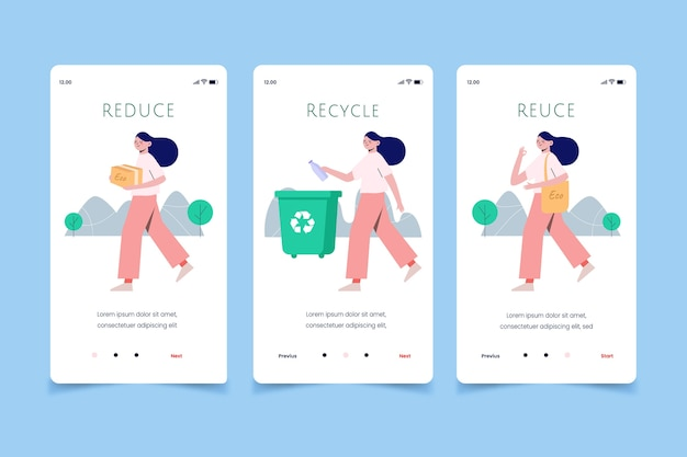 Woman recycling mobile app screens Free Vector