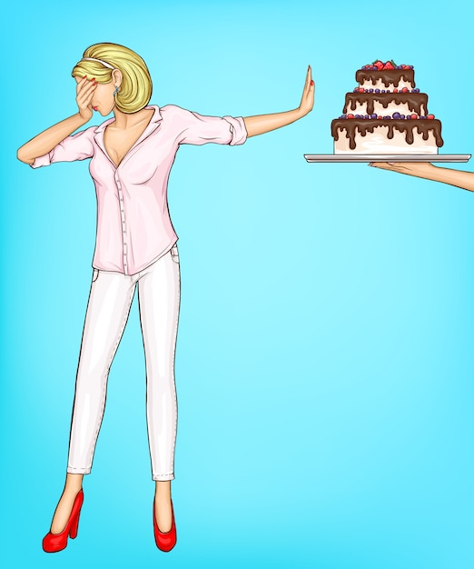 Woman refuse eating cake piece with stop gesture Free Vector
