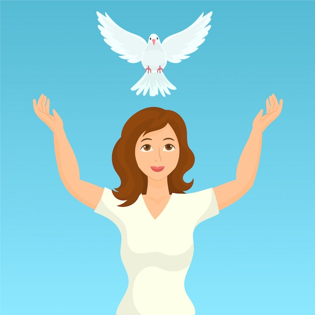 Woman releases dove of peace Premium Vector