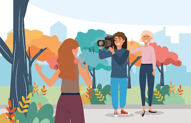 Woman reporter with microphone equipment and  camera man Premium Vector
