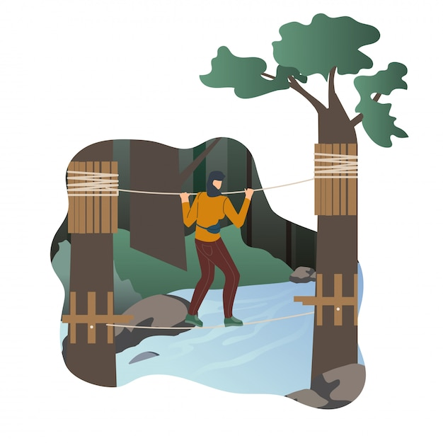 Woman resting in adventure park flat character Premium Vector