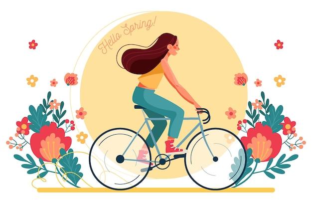 자전거 봄 배경 타고 여자 무료 벡터