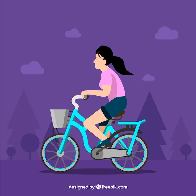 Woman riding bike with flat design