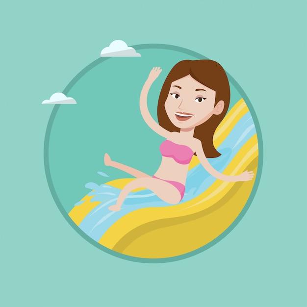 Женщина езда вниз водной горкой векторные иллюстрации. Premium векторы