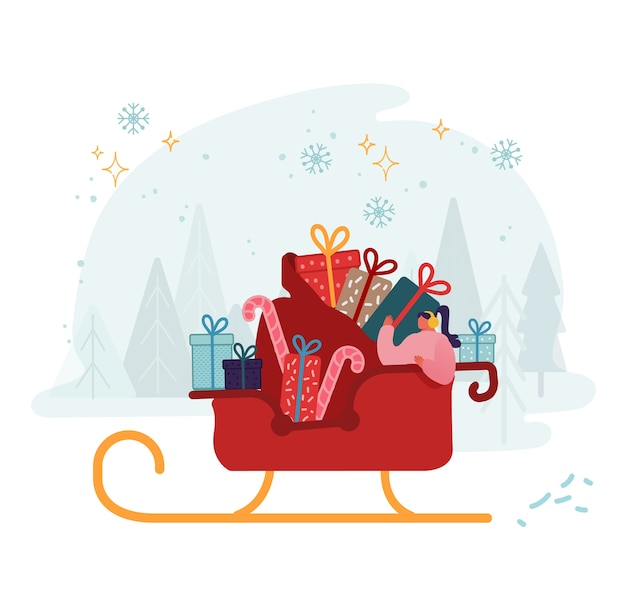 Woman riding in santa claus sleigh with huge sack full of gifts and sweets. Premium Vector