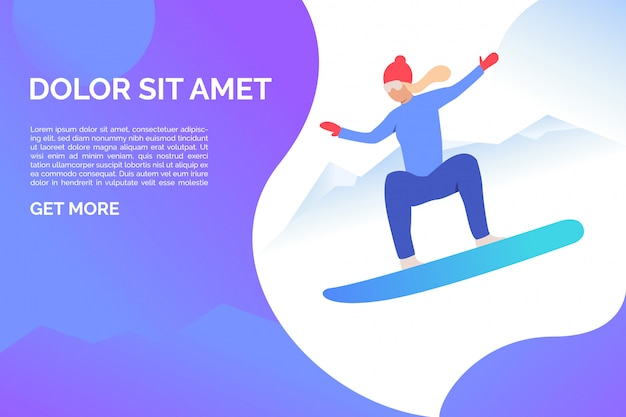 Woman riding snowboard in mountains with sample text Free Vector