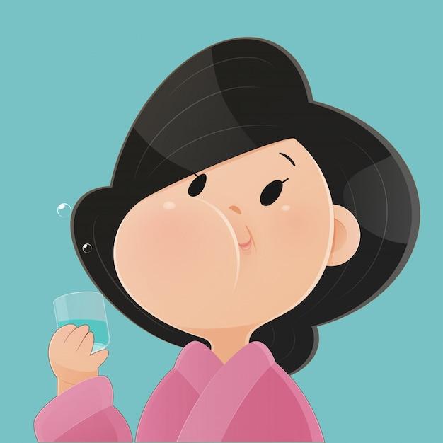 Женщина полоскает и полоскать горло при использовании жидкости для полоскания рта из стекла. во время ежедневной гигиены полости рта. стоматологические концепции здравоохранения. концепция стоматологического здоровья, вектор и иллюстрации Premium векторы