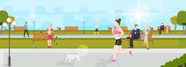 Woman running in the park Premium Vector