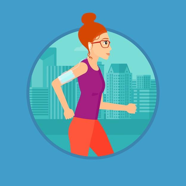 Woman running with earphones and smartphone. Premium Vector