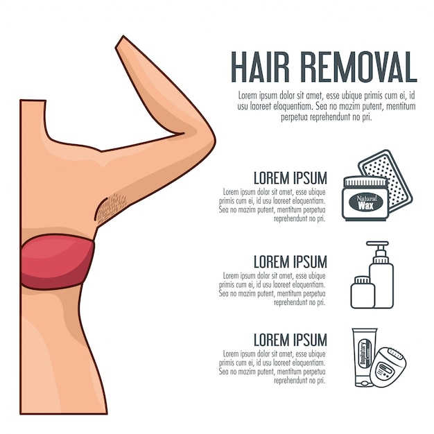 Woman's armpit with hair removal tools Free Vector