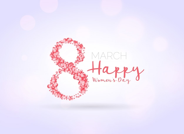 Woman's day background of eight made of flowers  Free Vector