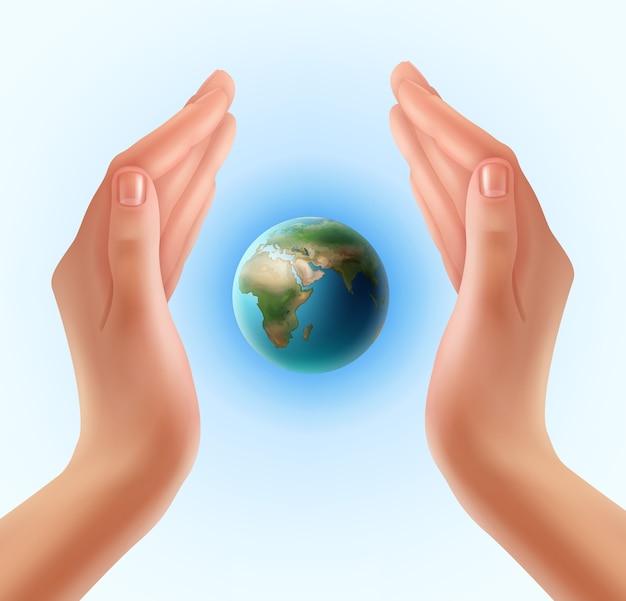 Mani della donna che proteggono il mondo Vettore gratuito