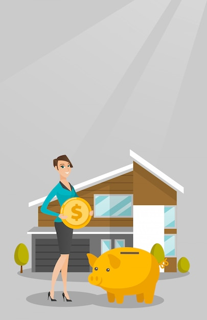 Woman saving money in piggy bank for buying house. Premium Vector
