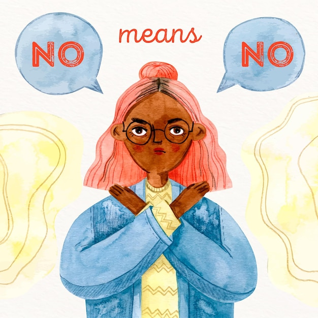 Woman saying no means no discrimination concept Free Vector