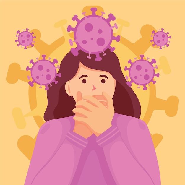 Woman scared of coronavirus disease Premium Vector