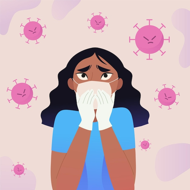 Woman scared of covid-19 disease illustrated Free Vector