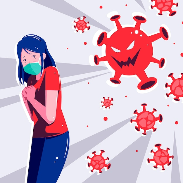Woman scared of covid-19 disease Premium Vector