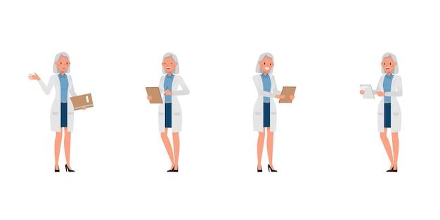 さまざまなアクションで女性科学者のキャラクター Premiumベクター