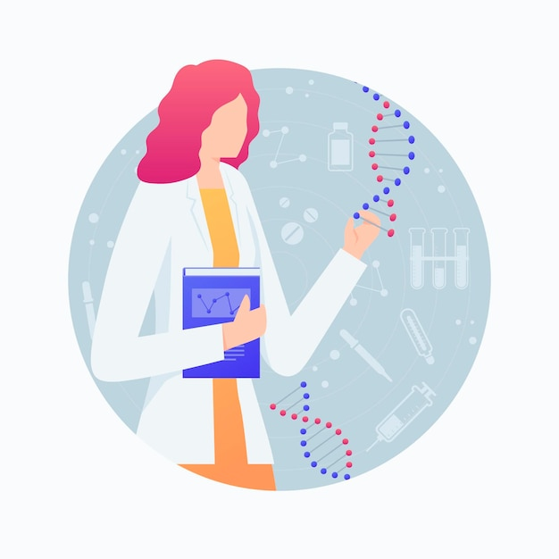 Женщина-ученый держит молекулы днк Бесплатные векторы